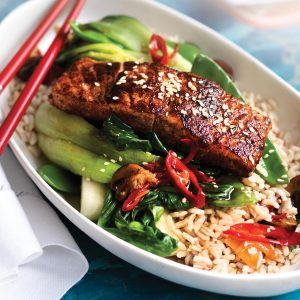 Five-spice salmon with stir-fried veg