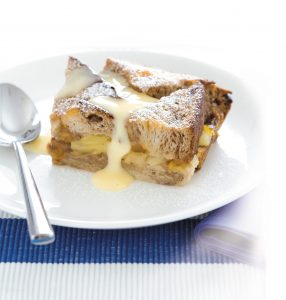 Fruit bread and butter pudding