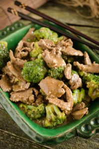 Ginger beef with broccoli