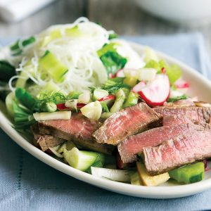 Ginger steak with lemongrass slaw topping