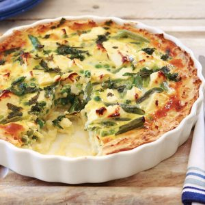 Gluten-free potato, pea and mint quiche