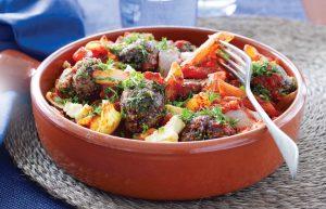 Greek-style meatball tray bake