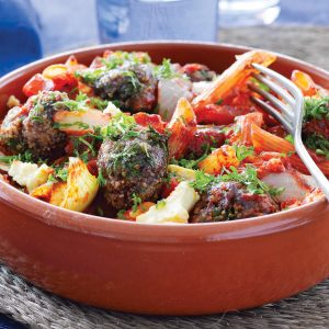 Greek-style meatball tray bake
