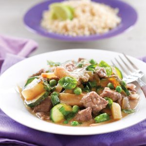 Green curried beef