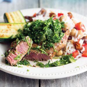 Green salsa steak