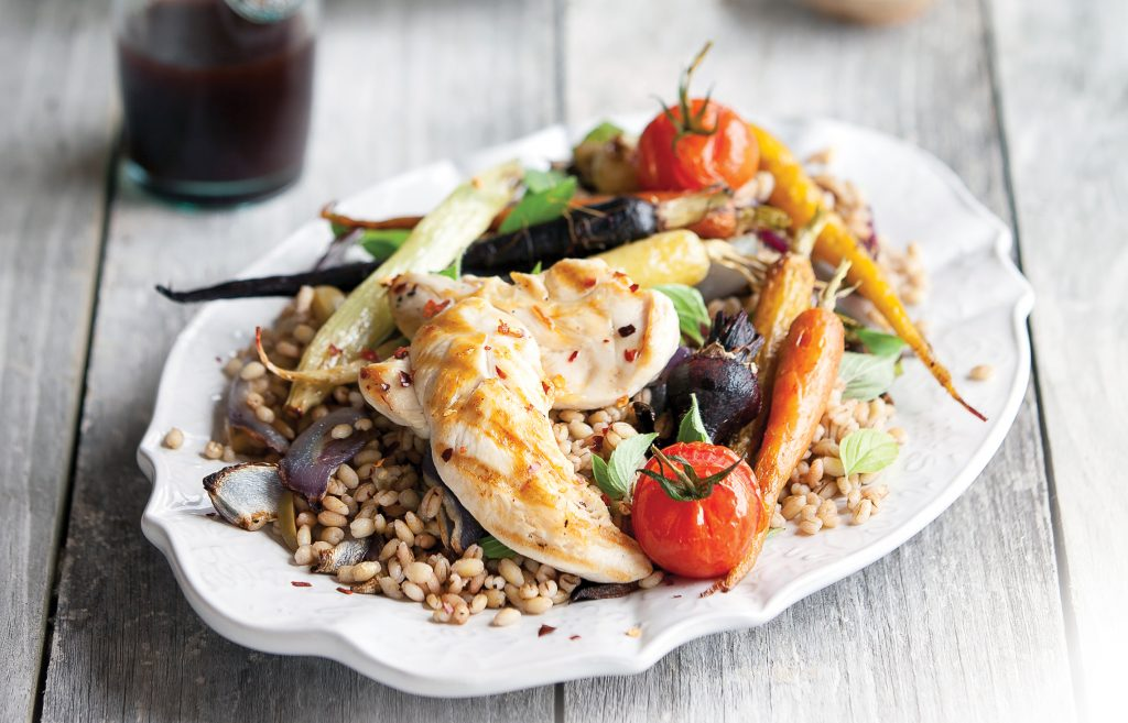 Griddled chicken with pearl barley salad