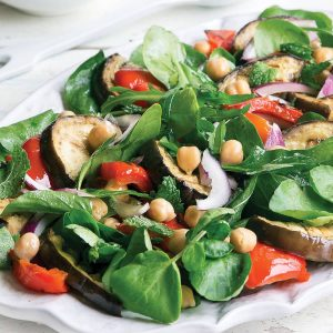 Griddled eggplant with chickpeas and leaf salad