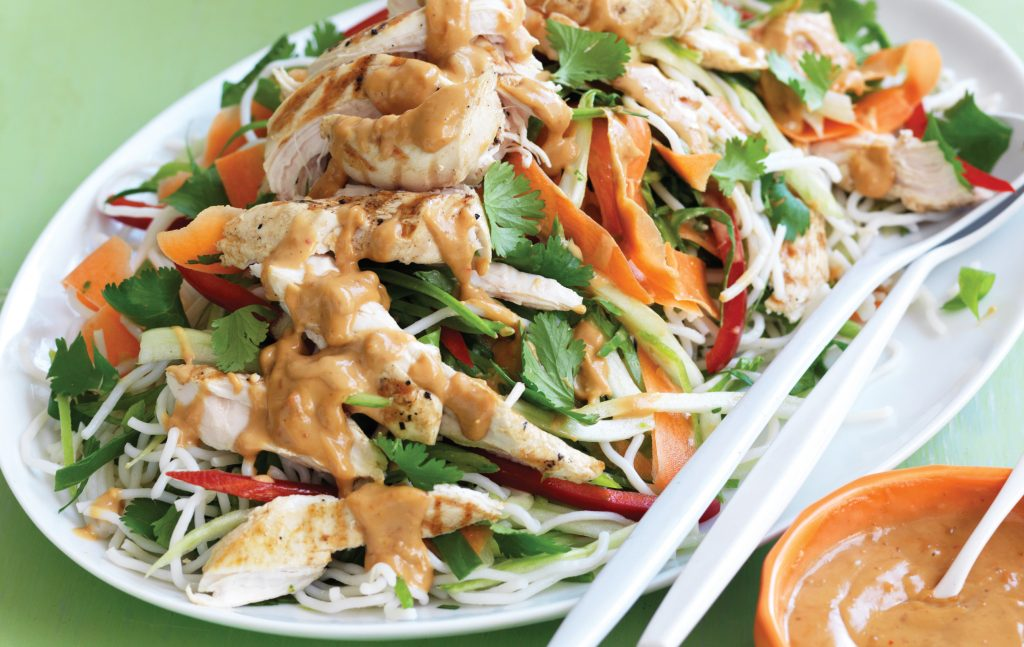 Grilled Chicken And Noodle Salad With Satay Dressing Healthy Food