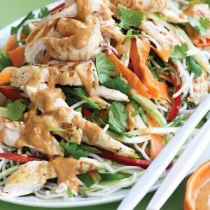 Grilled chicken and noodle salad with satay dressing