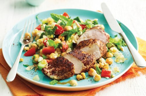 Grilled chicken with fresh summer salad