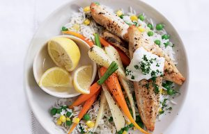 Grilled fish and vege rice