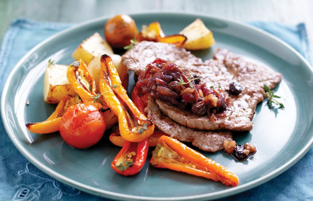 Grilled minute steaks with red onion compote