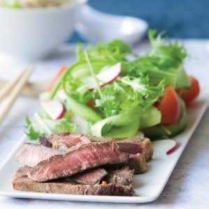 Grilled miso-marinated beef with Japanese salad