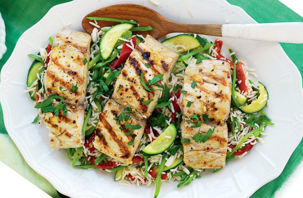 Grilled piri piri fish with warm rice salad