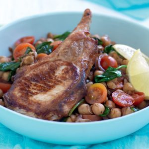 Grilled pork cutlets with warm chickpea salad