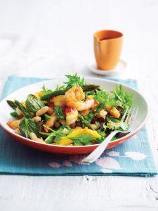 Grilled prawn, mango and asparagus salad