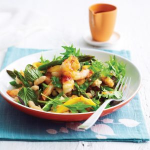 Grilled prawn, mango and asparagus salad