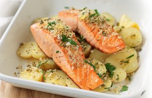 Grilled salmon with gremolata crumbs