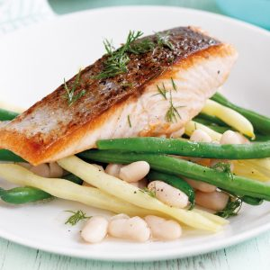 Grilled salmon with three-bean salad