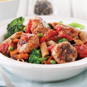 Harissa turkey meatballs with pasta and ratatouille sauce
