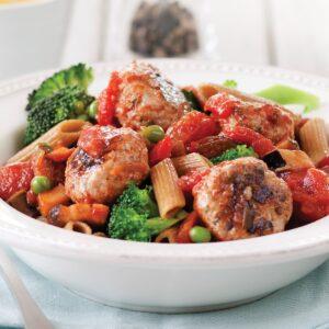 Harissa turkey meatballs with pasta and ratatouille sauce