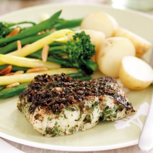 Herb-crusted fish with broccolini and beans