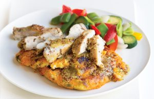 Honey-mustard chicken with kumara-sprout cakes