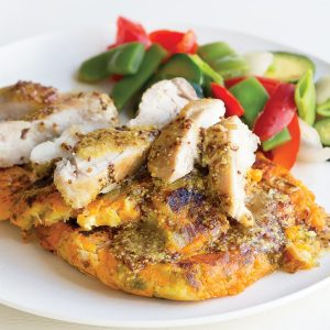 Honey-mustard chicken with kumara-sprout cakes