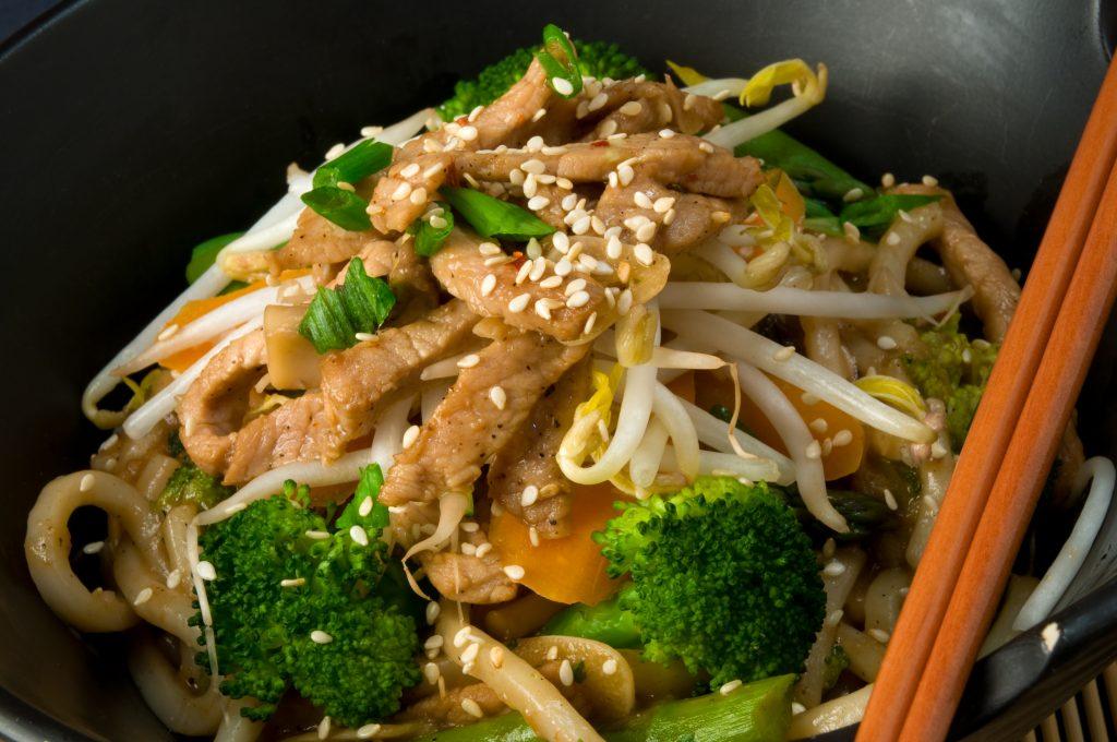 Honey pork noodle stir-fry