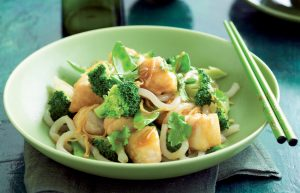 Honey-soy fish and noodle stir-fry