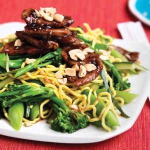 Honey-soy glazed pork with broccolini noodles