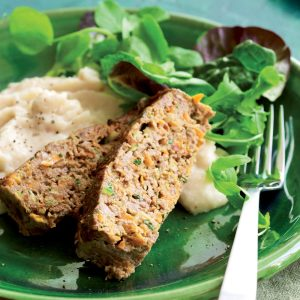Vegful Italian meat loaf with cannellini bean mash