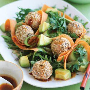 Japanese sushi balls with kale and avocado salad