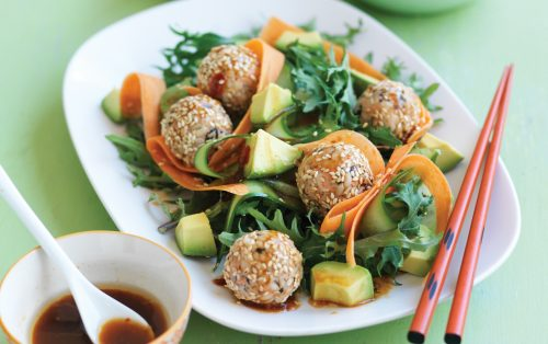 Japanese sushi balls with kale and avocado salad