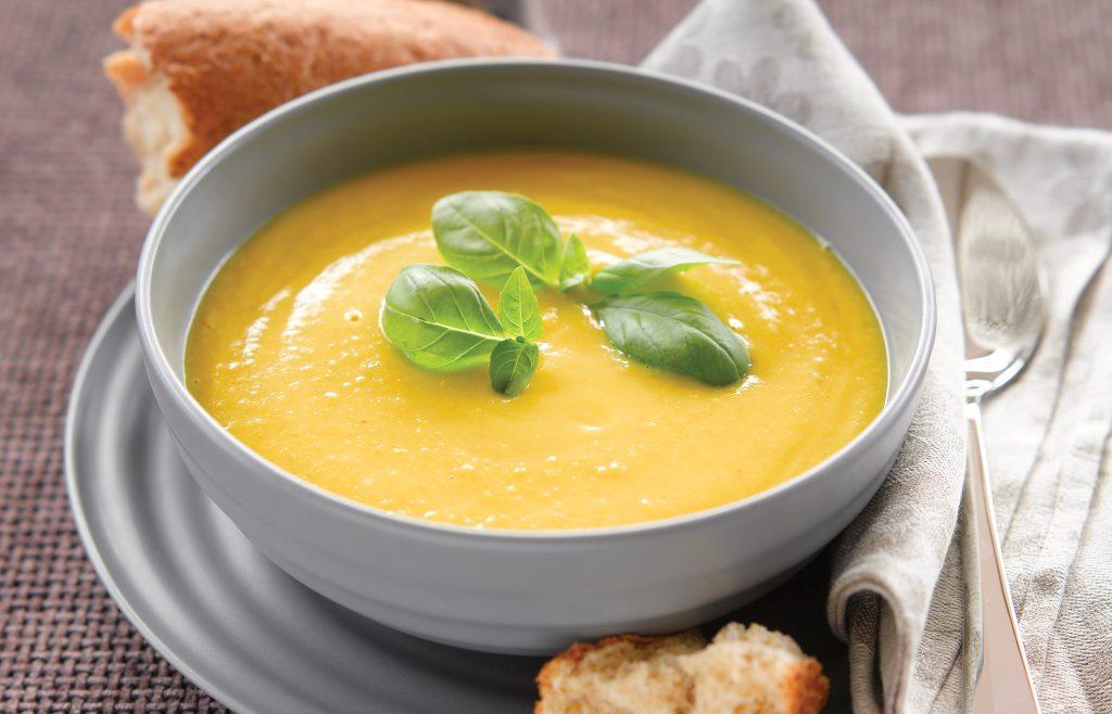 Kumara, coconut and lentil soup