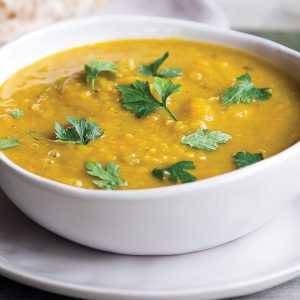Kumara, pumpkin and chickpea soup