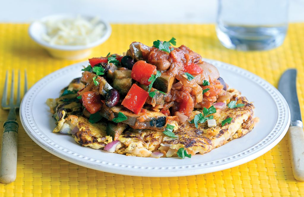 Kumara rosti with vegetarian beans