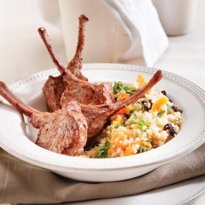 Lamb cutlets with fruited couscous