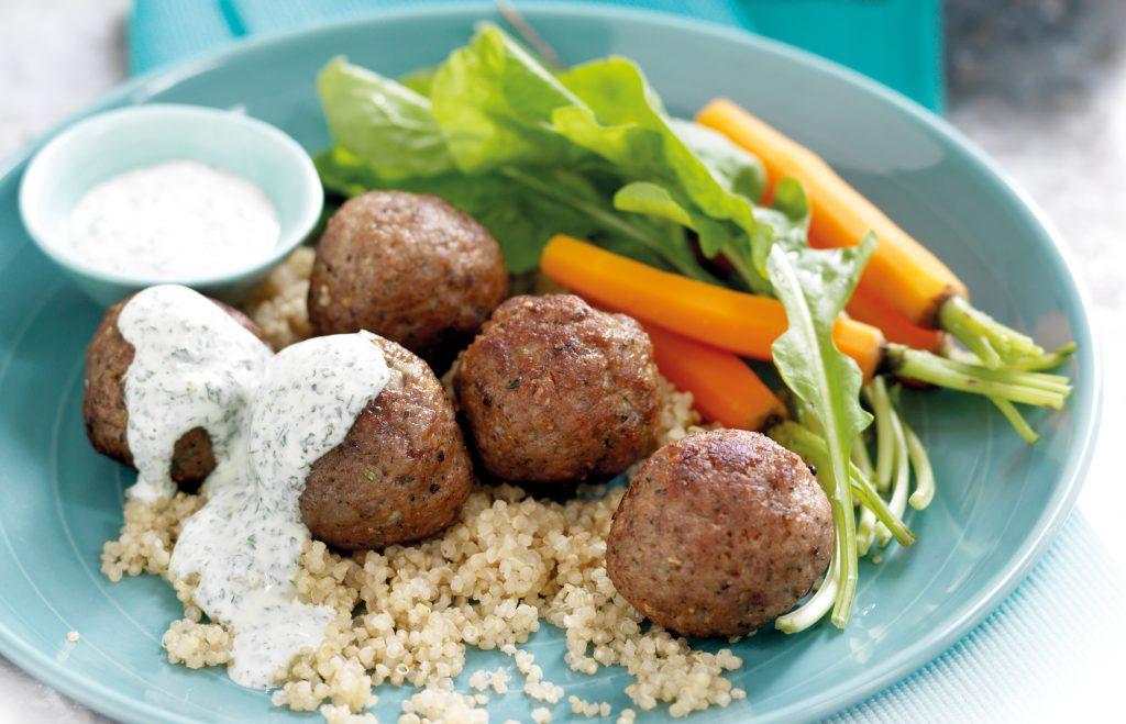 Lamb meatballs with spicy mint yoghurt