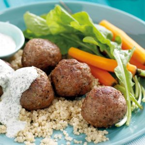 Lamb meatballs with spicy mint yoghurt