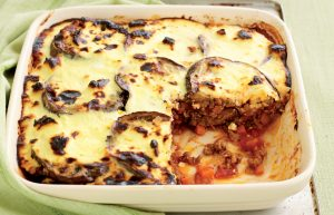 Lamb moussaka with yoghurt topping