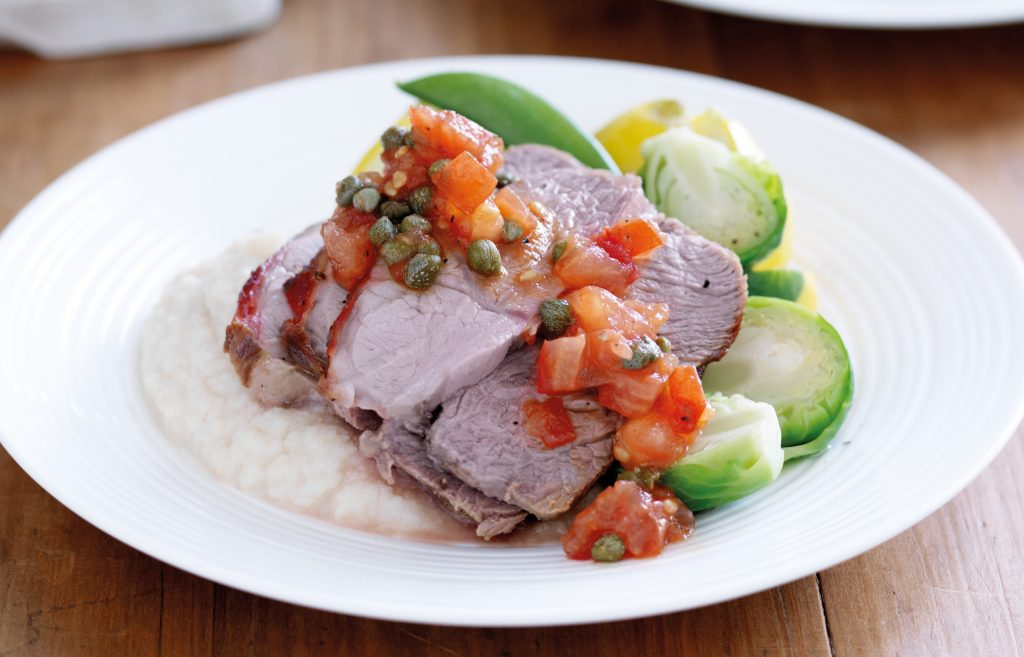 Lamb roast on cauliflower mash
