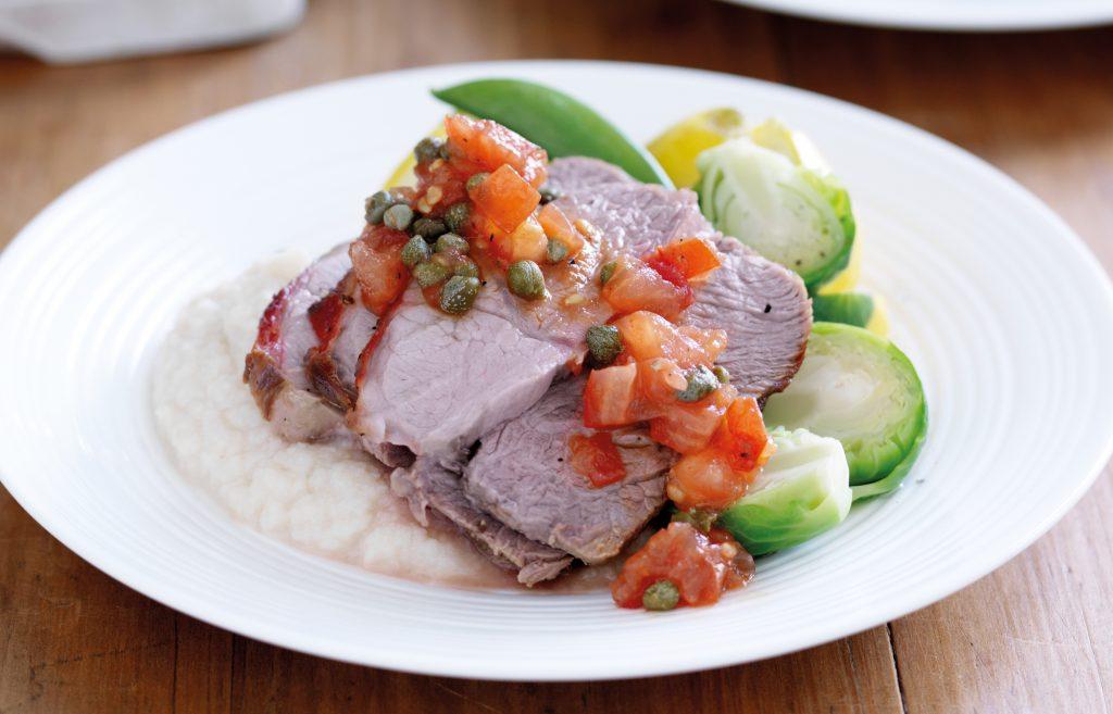 Lamb roast on cauliflower mash