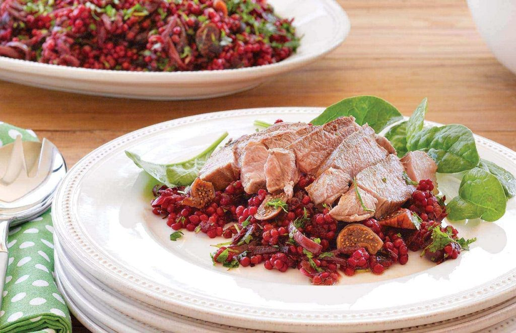 Lamb steaks with beetroot and fig Israeli couscous