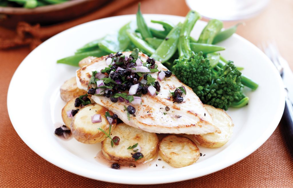 Lemon chicken with currant sauce