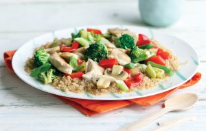 Lemon chicken with veges and quinoa