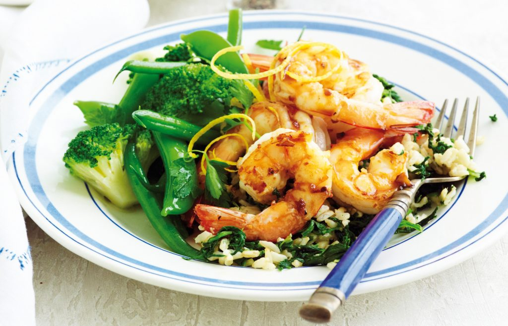 Lemon prawns with spinach rice
