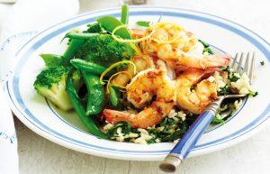 Lemon prawns with spinach rice