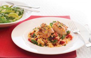 Lemon thyme chicken with Mediterranean risoni