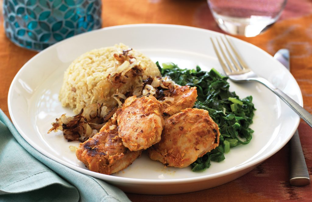 Lemongrass chicken with spinach